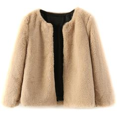 Choies Camel Faux Fur Long Sleeve Short Coat (39 CAD) ❤ liked on Polyvore featuring outerwear, coats, jackets, tops, brown, faux fur coats, long sleeve coat, beige coat, camel coat and fake fur coats