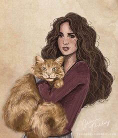 Hermione and crookshanks