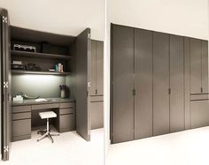 Your Guide to Creating The Ultimate Home Office – Cantoni This built-in home office is conveniently concealed when you want and highly functional when you need! Photo by Michael Hunter Home Office Closet, Office Nook, Guest Room Office, Home Office Space, Home Office Design, Home Office Decor, House Design, Home Decor, Office Cupboards