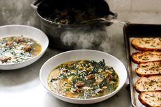 Feasting at Home: Kale, Chickpea and Chicken Soup with Rosemary Croutons