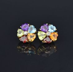 Heart Shape Gemstones Stud Earrings, Citrine Garnet Amethyst #Citrine #intage #Stud #Heart #Garnet #Natural #Yellow #Earrings #Amethyst #Watch