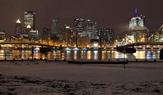 Beautiful photo of Pittsburgh's skyline in winter.