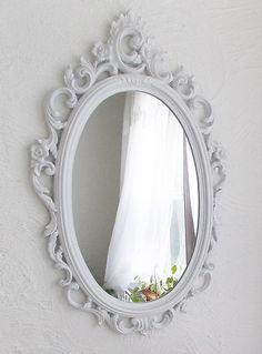 Vintage White Chic Rococo Romantic Syroco Mirror