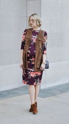 burgundy floral dress, suede vest, fringe booties, stylish maternity outfit idea, fall outfit, dark florals