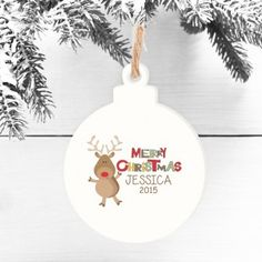 Personalised Wooden Bauble - Rudolph