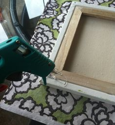 Easy #DIY fabric covered canvas. Gave me an idea to use large canvas to make headboard panels!
