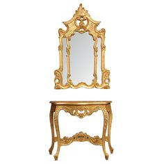 1stdibs | Set of Rococo Giltwood Console and Rococo Giltwood Mirror