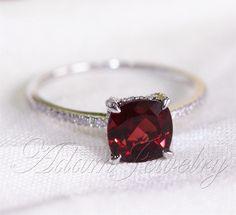 Cushion Cut 8mm Red Garnet Ring Pave Diamonds 14K by AdamJewelry, $350.00