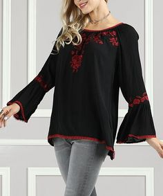 d03044567822 Look what I found on  zulily! Black  amp  Red Embroidered Rose Tunic -