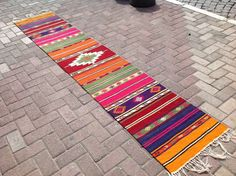 "Kilim runner, 114.5"" x 23"", Colorful Vintage Turkish kilim runner rug, aztec runner, runner rug, vintage kilim rug, bohemian runner rug, rug"