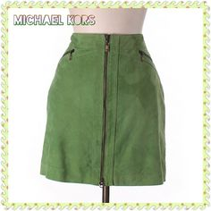 """Lime Green Suede Leather Michael Kors Skirt Lime Green Suede Leather Michael Kors Skirt Fully Lined with Full Front Zipper and 2 front zip pockets. Has an interior button for fastening.  Waist-34"""" Hip-42"""" Length-18"""" LIKE NEW! Michael Kors Skirts"""