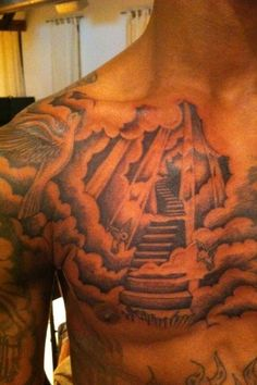 heaven-tattoo-design-for-men-on-chest ~ http://heledis.com/various-designs-of-tattoo-and-heaven-tattoo/