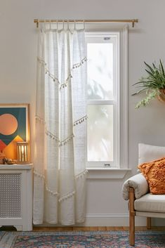 Shop Greta Fringed Window Panel at Urban Outfitters today. Bamboo Beaded Curtains, Boho Curtains, Curtains Living, Patterned Curtains, Bedroom Window Curtains, Cute Curtains, Closet With Curtains, Curtain Ideas For Living Room, Fringe Curtains