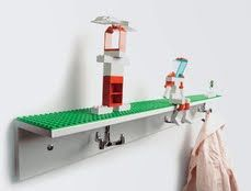 Easy DIY to make yourself lego shelf-could put in playroom, bedroom, make large for a lego play table, etc. Great way to display legos in a kids room!