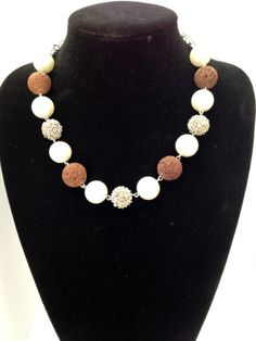 Chunky chocolate lava, glass pearls and wire beaded choker necklace - Michela Rae