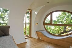 Elliptical Pod Tree House. Treehouse Djuren is located in Gross Ippener, Germany.