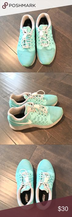 Nike Air Zoom Pegasus Shoe 7.5 Nike. Air zoom Pegasus. Teal/turquoise. Excellent condition. Smart lace system or u can replace with regular white laces. Custom designed using NikeID. Photographs with reflective shine underneath but color is flat when looking with naked eye. Hardly used. Nike Shoes Athletic Shoes