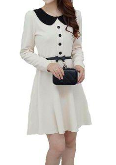 Printed Casual Peter Pan Collar Long Sleeve Dress For Women Pretty Dresses, Beautiful Dresses, Dresses For Work, Short Dresses, Cheap Dresses, Look Fashion, Korean Fashion, Womens Fashion, Hijab Abaya