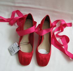 58f815c0d71 BNWT Zara Red Pink Ballet Satin Tie Leg Court Shoes EU 37