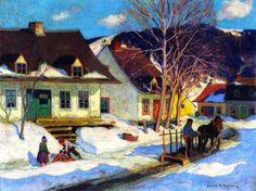 A Quebec Village Street, Winter (1920) - Clarence Gagnon - (Canadian, 1881 - 1942)
