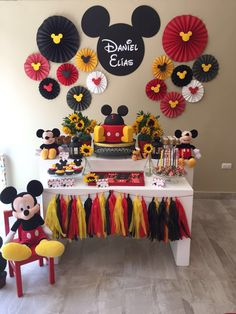 Mickey Mouse Birthday Party for third birthday Mickey Mouse Birthday Decorations, Theme Mickey, Fiesta Mickey Mouse, Mickey Mouse Parties, Mickey Mouse Bday, Mickey Mouse Backdrop, Mickey Mouse Table, Mickey Mouse Favors, Mickey Mouse Balloons