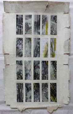 two days in pieces ~ mixed media on cardboard packaging ~ by ines seidel