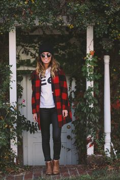 Skinny jeans, booties, tee, buffalo check flannel