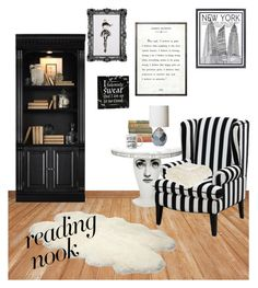 """Perfect reading place"" by kahenemeopeque ❤ liked on Polyvore featuring interior, interiors, interior design, home, home decor, interior decorating, Stephenson, Frontgate, Warner Bros. and Fornasetti"