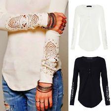 Fashion Womens Long Sleeve Shirt Casual Lace Blouse Loose Cotton Tops T Shirt Long Sleeve Tops, Long Sleeve Shirts, Autumn T Shirts, Women's Summer Fashion, Lace Tops, E Bay, Blouses For Women, Style, Cotton