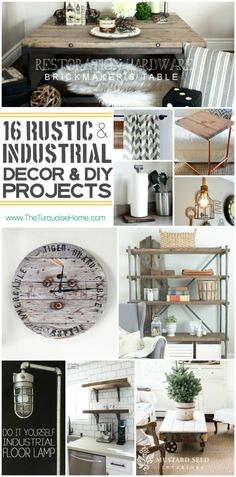 I absolutely love the rustic industrial style trend. Come check out 16 unique decor ideas and DIY projects | Roundup via TheTurquoiseHome.com