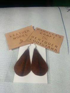 Earring, genuine leather, teardrop, brown
