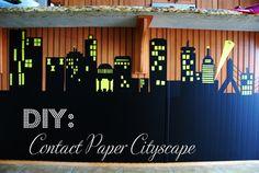 DIY Contact Paper Cityscape Photo Backdrop