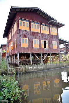 stilts house landscape Inle Lake Myanmar, Asia.  #getty #photo #photograph #photography #life #travel #traveling #photographer #licence #editorial #use #everyday #life #stilt #houses