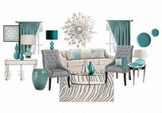 A modern mix of teal, grey and white living room with mirrored furniture.