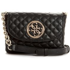 Guess G-Lux Mini Crossbody Bag (1,340 MXN) ❤ liked on Polyvore featuring bags, handbags, shoulder bags, black, crossbody purse, quilted handbags, guess handbags, guess crossbody and mini crossbody