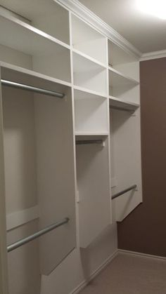 Picture of Crown Molding Installed And Finished, walk in closet shelving.