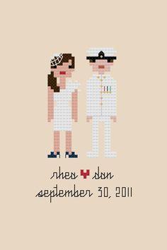 Custom PATTERN Pixel People Portrait Bride & by weelittlestitches