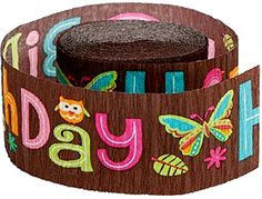 """[Single Count] Crepe Paper Streamer Roll """"Unisex Adult Hippie Butterfly BHirthday Design"""" for Decoration and Craft Supply with 30 Ft / 9.1 M Length {Brown, Blue, Green, and Pink Colors) mySimple Products http://www.amazon.com/dp/B014LNB6S6/ref=cm_sw_r_pi_dp_O1SJwb0FGRTP7"""