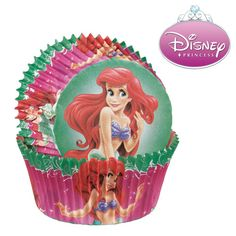 Add the Little Mermaid Baking Cups to your Ariel birthday party supplies. The design features the Disney princess in vibrant colors.