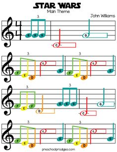 Learn Piano Sheet Music Star Wars (Main Theme) Sheet Music in C Major for Chromanotes Boomwhackers and Deskbells - Teach your child how to play preschool songs with our free sheet music! Good for boomwhackers, hand signing, singing and more! Trumpet Sheet Music, Clarinet Sheet Music, Violin Music, Recorder Music, Saxophone, Sheet Music For Piano, Piano Sheet Music Beginner, Recorder Notes, Keyboard Sheet Music