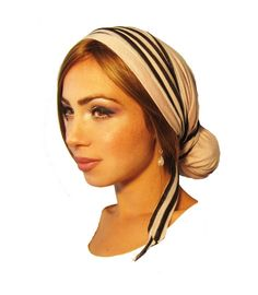 Snoods, Head Scarves, Tichel, Hair Snood, Head Scarf, Chemo Hat: Pink Shine Black White Stripe Wrap. . . see many more styles in shop on Etsy, $24.99