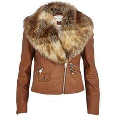 I'm shopping Tan faux fur collar biker jacket in the River Island iPhone app.