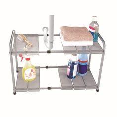 Home Basics Under Sink Steel Kitchen Organizer with 2 Adjustable Shelves