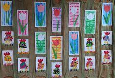 Tulipány - barevný papír, podklad suchá tempera. Veselé slepičky - barevný papír, fix.
