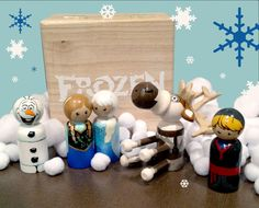 Frozen-inspired peg doll people SET - Anna, Elsa, Kristoff, Sven and Olaf with box