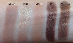 MUFE eyeshadows M646, I648, M650, D652, ME654
