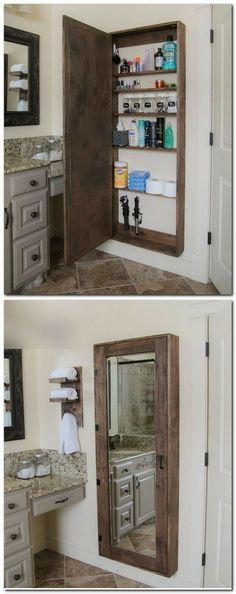 Потайной шкаф за огромным зеркалом для принадлежностей для ванной комнаты - стильно и функционально!