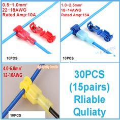 30PCS(15set) Wire Cable Connectors Terminals Crimp Scotch Lock Quick Splice Electrical Car Audio 22-10AWG 0.5mm-6mm Kit Tool Set