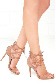 48c1d48e5cf5 Daya by Zendaya Anderson Blush Suede Lace-Up Heels