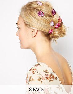 Immagine 1 di ASOS - Confezione da 8 mollette per capelli con roselline di carta